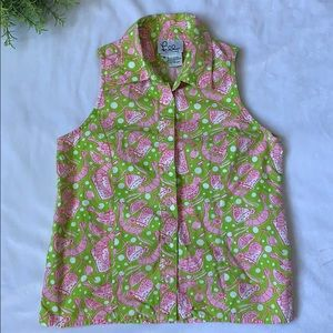 Girls Lilly Pulitzer Shrimp Cocktail Top Size 8